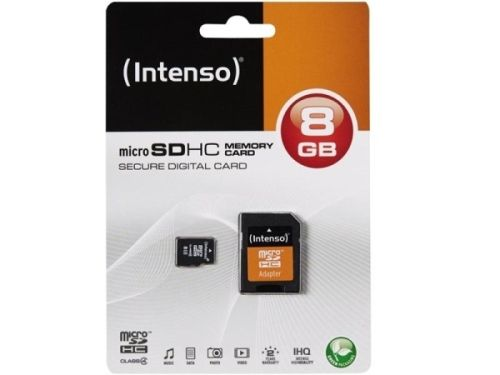 Micro SDHC Card, 8GB, CL4, + Adapter, Intenso
