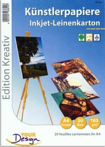 Künstlerpapier/Leinenkarton, A4, 20 Blatt, 185 g