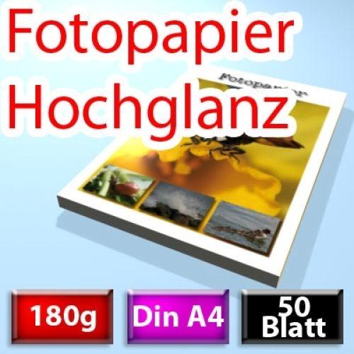 180g High-Glossy Foto-Papier Din A4, 50 Blatt