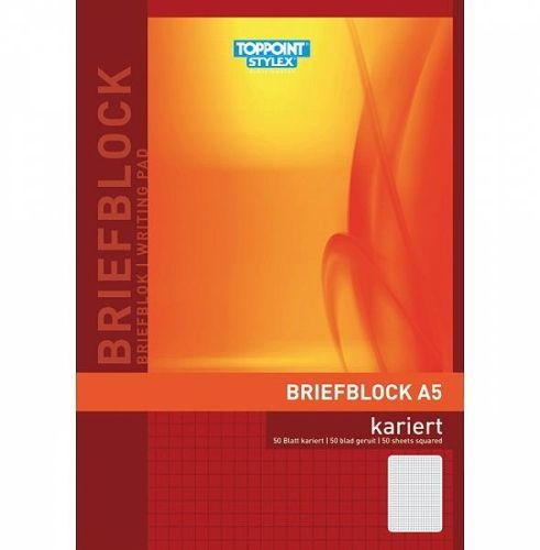 Briefblock A5, kariert, 50 Blatt