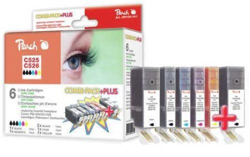 Peach Combi Pack Plus mit Chip, kompatibel zu CLI-526, PGI-525