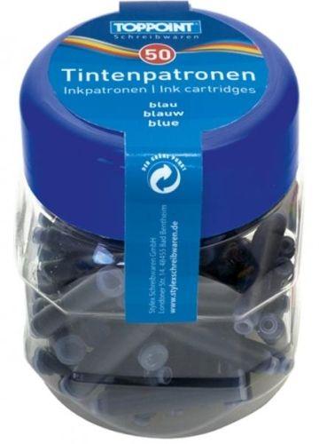 50 Tintenpatronen, blau, in Kunstoffbox